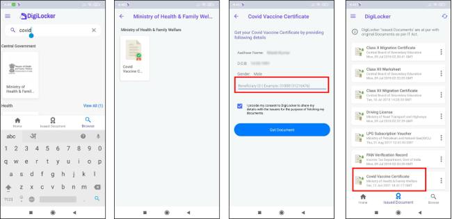 Keyword download vaccination certificate