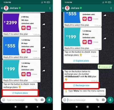 Recharge Jio number using Whatsapp Chatbot