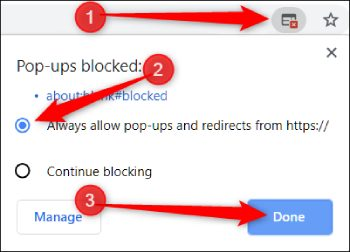 Allow pop ups in chrome